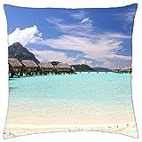 Perfect white sand beach and clear aqua blue lagoon on paradise tropical island Bora Bora T - Throw Pillow Cover Case (1