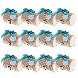 MagiDeal 12 Stück Bambus Geschenkbox Geschenkschachtel Geschenkverpackung Gastgeschenk mit bowknot - Blauer Bowknot, 7,5 x 5,5 x 5 cm