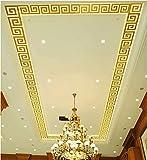 Spiegel Aufkleber DIY Home Art Dekoration Wohnzimmer Schlafzimmer Decke Selbstklebende abnehmbare Acryl , Gold