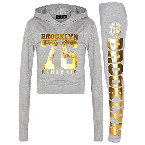 A2Z 4 Kids A2Z 4 Kids® Mädchen Top Kinder Designer BROOKLYN NEW YORK 76 ATHLETIC - Brklyn Hooded Crop Set Grey Gold 7-8