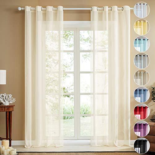 Topfinel trasparenti voile tende lino per la camera da letto della finestra del soggiorno tenda finestra con occhielli,140x280cm,2 pezzi,beige