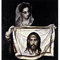 Pittura a olio dipinta a mano - 45 x 48 inches / 114 x 122 CM - El Greco (Doménikos Theotokopoulos) - St Veronica Holding the Veil