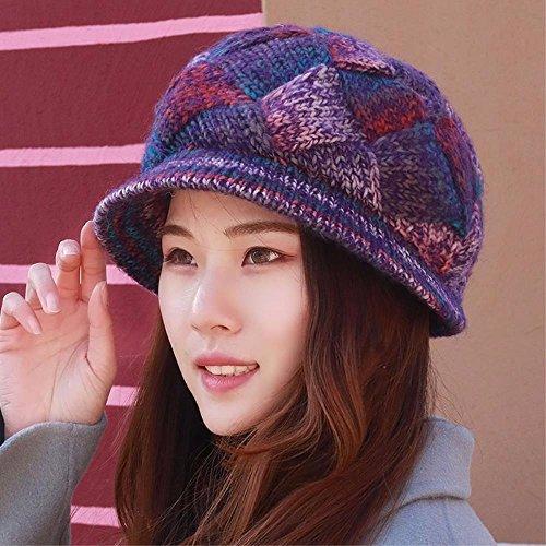 QIER-MZ Herbst und Winter Stricken Wollhut Damen verdicken Hut mit breiter Krempe Handgestrickte Mutter Hut-Becken-Kappe Purple (Hüte Mit Damen Stricken Krempe)