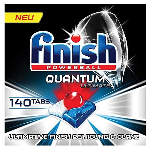 Finish Quantum Ultimate Spülmaschinentabs - Phosphatfreie Geschirrspültabs mit 3-fach Wirkung - Kraftvolle Reinigung, Fettlösekraft und Glanz - Gigapack mit 140 Finish Tabs