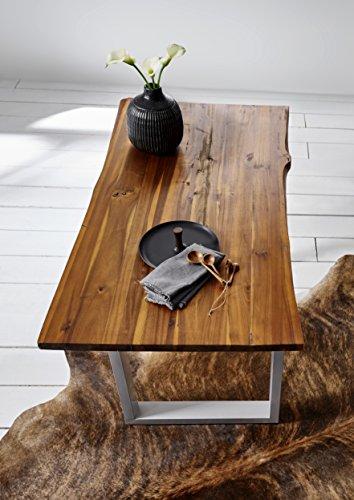 SAM® Stilvoller Esszimmertisch Ida aus Akazie-Holz, Baumkantentisch mit lackierten Beinen aus Roheisen, naturbelassene Optik mit Einer Baumkanten-Tischplatte, 180 x 90 cm - 3