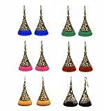 Efulgenz Jewellery Combo of Oxidised Antique Fancy Party Wear Dangler Earrings for Girls and Women