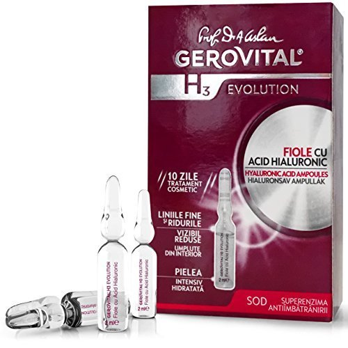 GEROVITAL H3 EVOLUTION, Hyaluronic Acid Ampoules With Superoxide Dismutase (The Anti-Aging Super-Enzyme) 30+ (10 ampoules x 2ml) (FOR EXTERNAL USE ONLY!)