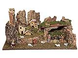BERTONI - Paisaje de Pueblo Completo con Luces, Casas y belén en Cueva, Madera, Talla única