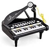 Baoli Teclado de 24 teclas para niños Piano de juguete con micrófono - Negro