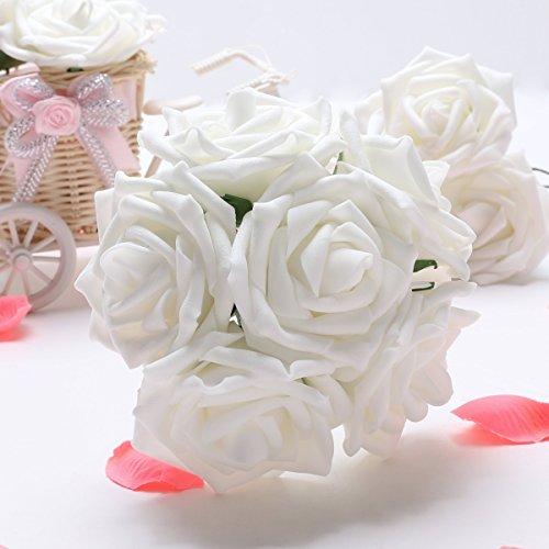 50 X Kunstblume Rosen flora Braut Bouquet Party Deko DIY, Weiß