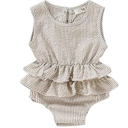 Knowin Neugeborene Kleidung Set Babykleidung Langarm Baby Junge Mädchen Ärmellose, Gestreifte Rüsche Baby Mädchen Beiläufig Kleidung Weste Kurzen Baby Body Playsuit Sommer (80er Jahre Jungen Kleidung)