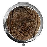 """metALUm - Extragroße Pillendose in runder Form""""Holz"""""""