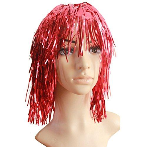 Halloween COSPLAY Perücke Requisiten Make-up Tanz gebürstet Haar trimmen Kleid Kopf Cap ( Farbe : Rot )