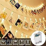 Gaddrt luce LED bianca calda photo clip portafoto peg clip corda pin molletta Craft party wedding Home Decoration 3m/20 LED