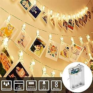 Dapei LED Lichterkette mit klammern für Fotos – 6M 40LED Fotoclips Kupferdraht Lichterkette Batteriebetrieben Romantisch…