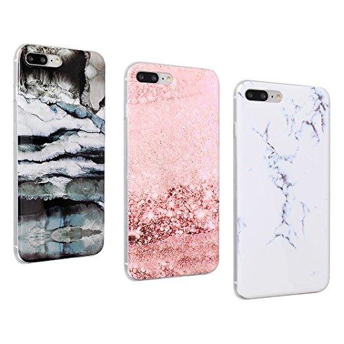 iPhone 7 Plus Case, iPhone 8 Plus Hülle Silikon, Moon mood® TPU Silikon Handyhülle Schutzhülle Case für Apple iPhone 8 Plus / 7 Plus 5.5 Zoll Thin Dünn Weich TPU Schutz Etui Cover, Flexibel Silikon Ca 3 PCS - 3