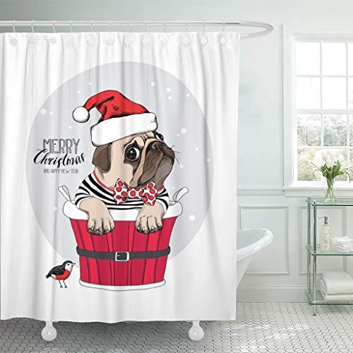 Eybfrre Duschvorhang Christmas Pug Dog in Red Santa Cap Funny Party Waterproof Polyester Fabric 60 x 72 Inches Set with Hooks 0J18744 -