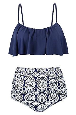 Alicecoco Women's Cute Ruffles Strap High Waisted Swimsuit Crop Top Flounce Bikini(FBA) (L,