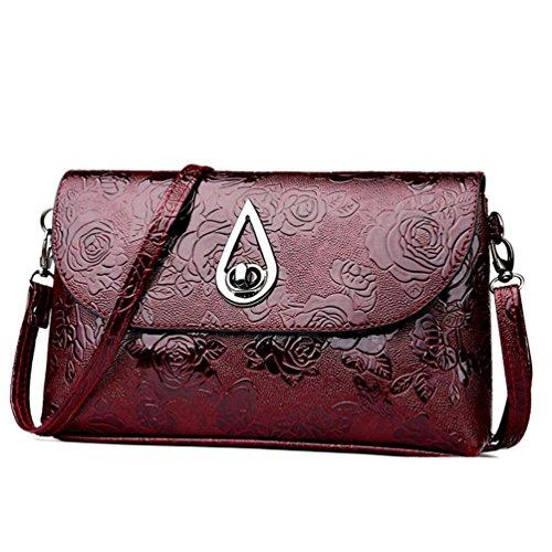SANFASHION Mode Frauen Blumenmuster Leder Umhängetasche Messenger Bag Umhängetasche
