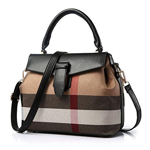 Burberry Canvas Brieftasche (Xuanbao-HB Damen-Damenhandtasche Frauen-rote Karierte Einkaufstasche pendelnde beiläufige Beutel-Schulter-Messenger-Handtasche Taschen Hobo Taschen (Farbe : Schwarz, Größe : L))