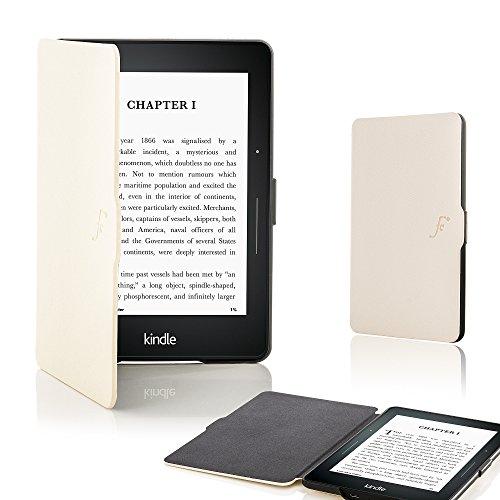 on Kindle Voyage Smart Hülle Schutzhülle Tasche Bumper Folio Smart Case Cover Stand - Ultra Dünn Leicht Rundum-Geräteschutz - Smart Auto Schlaf/Wach (WEIß) ()