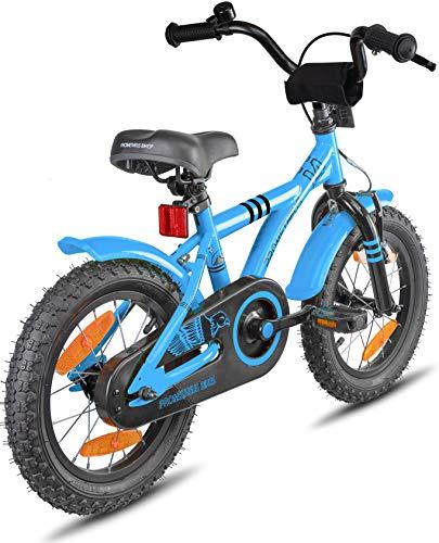 Prometheus Bicicletta per Bambini e Bambine da 4 Anni nei Colori Blu e Nero da 14 Pollici con rotelle e contropedale – BMX da 14″ Modello 2019 - 7
