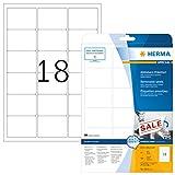 Herma 4203 Universal Etiketten ablösbar, wieder haftend (63,5 x 46,6 mm) weiß, 450 Klebeetiketten, 25 Blatt DIN A4 Papier matt, bedruckbar, selbstklebend, Movables