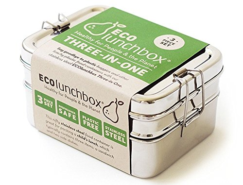 Image of ECOlunchbox Three-in-One, 3-teilige Brotdose aus Edelstahl, Lunchbox, Bento Box