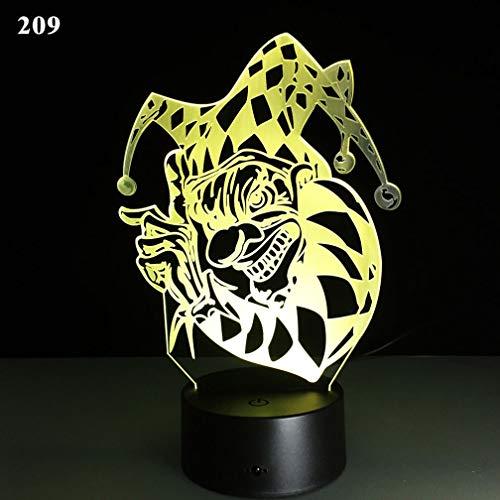Windtor Kinder-Nachtlicht Nachttischlampe 7 Farben wechseln 3D Nachtlicht Kids Optische Illusion Lampen Home Decor Büro Schlafzimmer Party Dekoration (Halloween Punisher Maske), # 11, Touch Button (Maske 11 Halloween)
