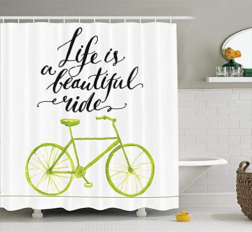 Fahrrad Dekor Duschvorhang Set Das Leben ist eine schöne Fahrrad Fahrt Zitat Print mit Pastell Farbe Einzigartige Fahrrad Grafik Arbeit Badezimmer Zubehör lang Grün Schwarz