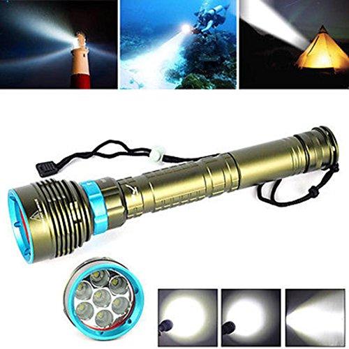 LED Taschenlampe,Unterwasser 200m 20000LM 7x XM-L2 LED Tauchen Taschenlampe 3X18650/26650 Taschenlampe
