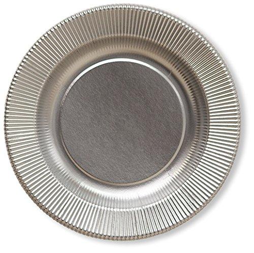 Chaks 243MA, Lot de 8 assiettes 21cm Righe, Argent satiné