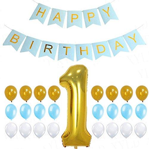 Yalulu 26/Set 1st Happy Birthday Blau Dekoration Papier Wimpelkette Banner Ballons Set Folie Luftballons für Baby Dusche Junge Ersten Geburtstag Party Supplies Fotografie Prop (Baby-junge-geburtstag Party Supplies)