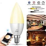 Smart Kerze Lampe Bluetooth LED Glühbirnen E12 E14 Birne Bulb mit Warmweiß oder kaltweiß Glühbirne 4W, 2700K-6500K steuerbar via App dimmbare,ersetzt 60W Glühbirne