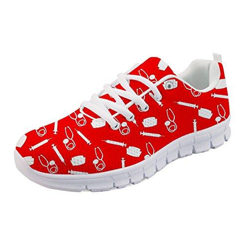 HUGS IDEA leichte Damen Laufschuhe Krankenschwester Medizinische Versorgung Cartoon Mädchen Fitness Sport Walking Athletic Sneakers - EU Größe 44 - Athletic Medizinische Schuhe