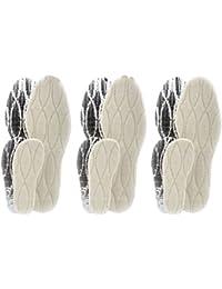 Ensemble de 3 paires de semelles thermiques avec base en aluminium et véritable laine d'agneau z2391