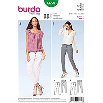 Burda B6658 Schnittmuster Hose Papier Weiß 19 x 13 x 1 cm: Amazon.de ...