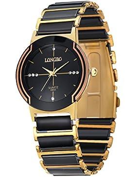 Herren-schwarzes Gold Keramik-Uhren edles Paar Kleid Art und Weise Uhr rinestone Geschäft Armbanduhr