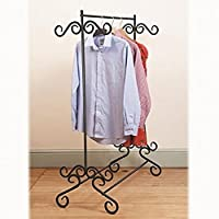 Scotrade Shabby Chic Clothes Garment Rail Metal Ornate Vintage Style Hanging Stand - Black