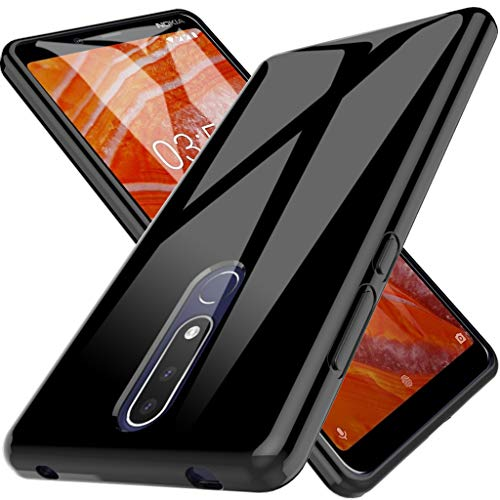 LK Cover per Nokia 3.1 Plus Custodia, Case in Morbido Silicone di Gel AntiGraffio in TPU Ultra [Slim Thin] Protettiva - Nero