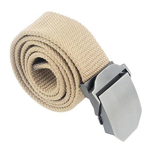 Forepin® Uomo Stile Cintura Canvas Web di Svago Della Cinghia Vita Regolabile Cintura Cintura con Fibbia in Lega di Automatici Slider Tessuto Della Cintura a Vita 2.7-3.1 Piedi