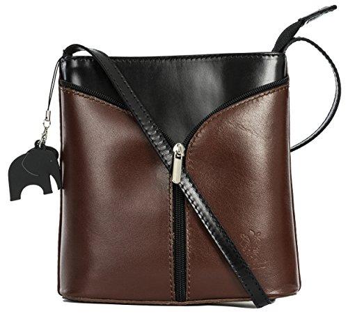 Big Handbag Shop Borsetta piccola a tracolla, vera pelle italiana Dark Tan - Black Trim
