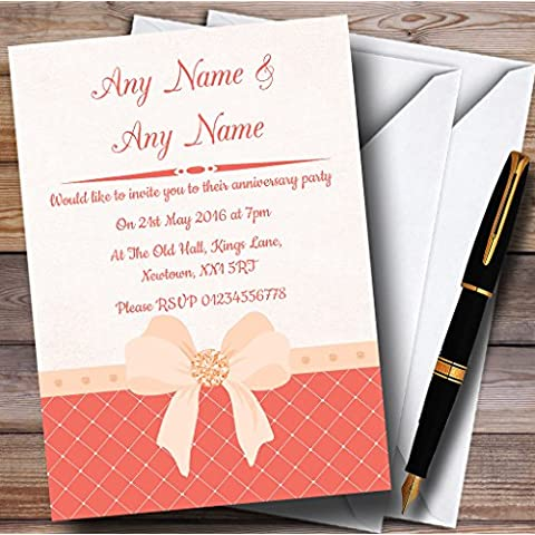 Acolchado mirada Coral arco invitaciones aniversario fiesta/invita y sobres, 40 Invites & Envelopes