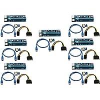 Longxi (lot de 7) 6broches Alimenté par port PCI-E Riser PCI Express–Ver 006C–1x vers 16x carte adaptateur PCIe USB 3.0–avec câble d'extension USB–carte graphique GPU Crypto Devise Mining