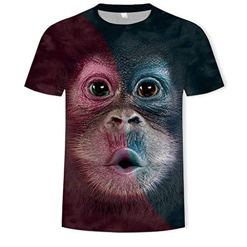 BinggongHerren 3D Affen Gedrucktes T-Shirt Männer Rundhals Große Größen Kurzarmshirt Sportsshirt Stretch Freizeit Shirts Sommershirt Classics Herrenbekleidung -