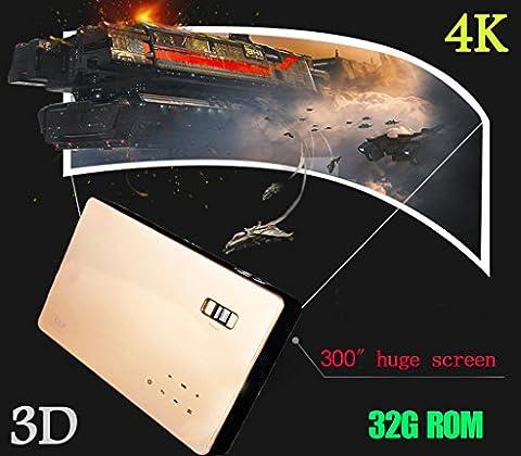 sjy 2016–DLP Projecteur Home Cinéma 4K Mini Portable Wifi Android 4.4Octa Core GPU 32G ROM 2D Convertir 3D Écran de zoom/Lecteur Blu-ray/3D VGA USB AV HDMI 4K Compatible TV Chips LED Lampe qx30Doré pour jeux