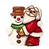 THUN Babbo Natale con Pupazzo di Neve Bimbi e Personaggi, Ceramica, Variopinto