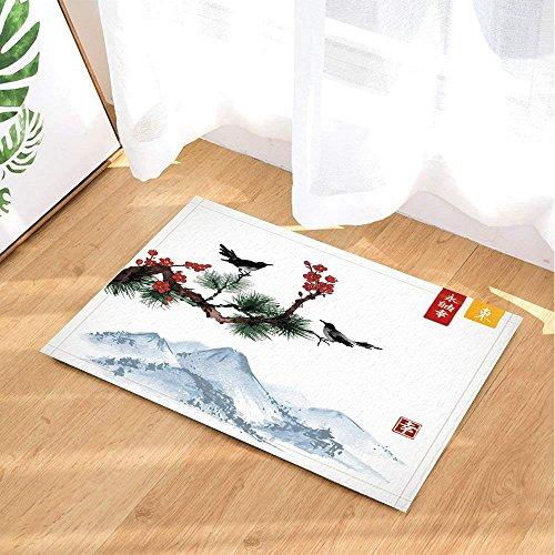 Yinyinchao Alfombras Baño Pintura Tinta Japonesa,Pájaros