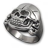 Fly Style® Herren Husaren Totenkopf Skull Finger-Ring Biker Edelstahl Schmuck Farbe Silber (22.0mm) risst012