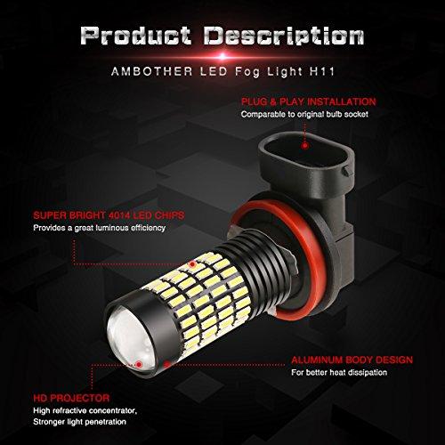 H11 Nebellicht LED Nebelscheinwerfer, AMBOTHER extrem helle ...